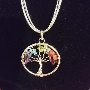 Colored Tree of Life Necklace on multi/chain